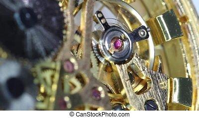 motie, horloge, tandwiel, klok