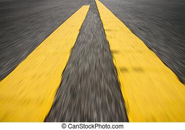 motie, lijn, verkeer, road., gele