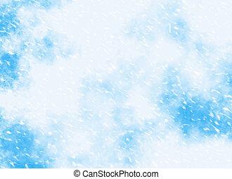 motie, sneeuwval, op, een, blauwe hemel, achtergronden