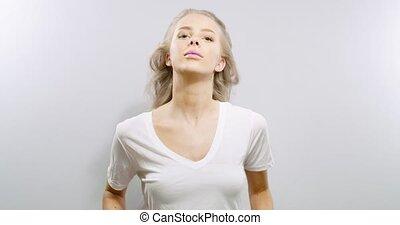 motie, vrouw, vertragen, haar, beauty, haar, flings, verticaal, blonde