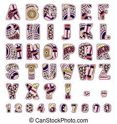 motieven, ethnische , alfabet, brieven