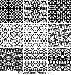 motieven, geometrisch, seamless, set.