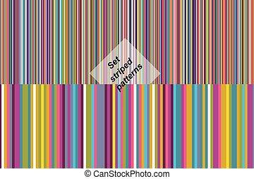 motieven, gestreepte , set, seamless, kleurrijke