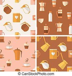 motieven, koffie stel, seamless, items