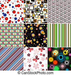 motieven, set, seamless, kleurrijke