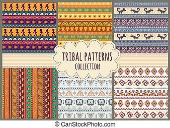 motieven, van een stam, kleurrijke, seamless, verzameling