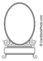 motif, floral, cadre, spirale, ovale