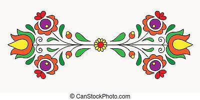 motif, hongrois, folklorique