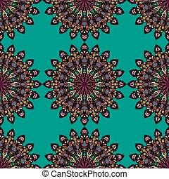 motif., islamic, ornament., pattern., seamless, padrão, verde, otomano, floral, indianas, mandala, redondo, vermelho, árabe