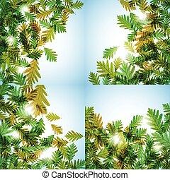 motif., quercia, leaves., illustrazione, autunno, vettore, fondo