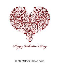 motif, valentines, vigne, cœurs, feuille, jour, heureux