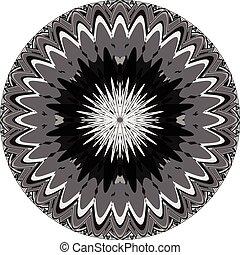 motiff, genérico, resumen, grayscale, elemento, mandala., geométrico, circular