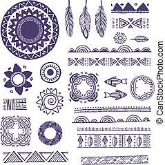motifs, éléments, mandala, ornements, fond, rond, tribal, ...
