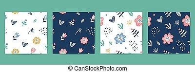 motifs, éléments, seamless, floral, ensemble, vecteur