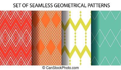 motifs, 4, ensemble, seamless, géométrique