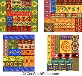 motifs, africaine, coloré, ethnique
