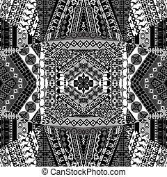 motifs, arrière-plan noir, africaine, blanc, mosaïque