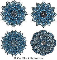 motifs, bleu fleurit, circulaire, formé, étoile