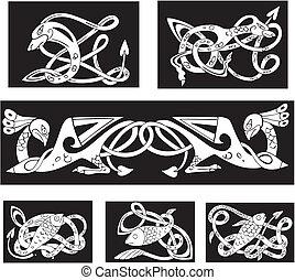 motifs, celtique, noeud, animalistic