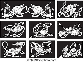 motifs, celtique, oiseaux, noeud