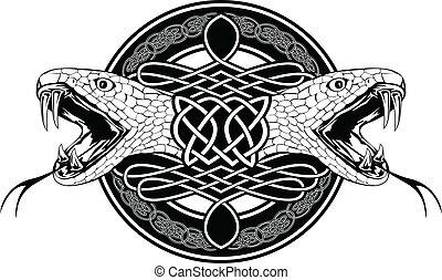 motifs, celtique, serpent