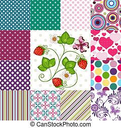 motifs, coloré, collection, seamless