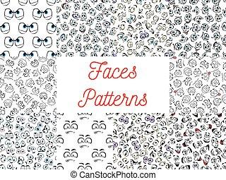 motifs, dessin animé, humain, faces