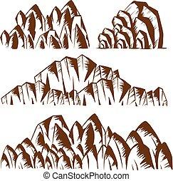 motifs, différent, montagnes