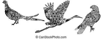 motifs, ensemble, oiseaux