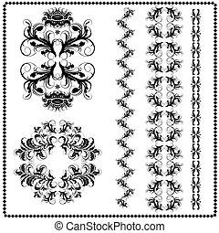 motifs, fond blanc, calligraphic