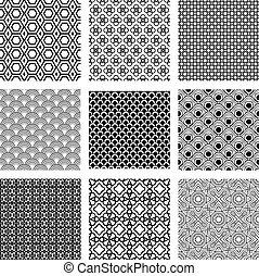motifs, géométrique, ensemble, noir, blanc