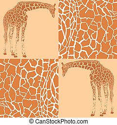 motifs, girafe, papier peint