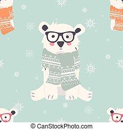 motifs, joyeux, ours, noël, mignon, animaux, seamless, polaire