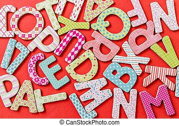 motifs, lettres, coloré