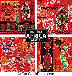 motifs, motifs, seamless, ensemble, ethnique, fond, africaine