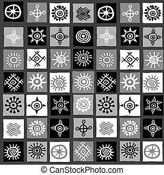 motifs, noir, carrés, africaine, blanc