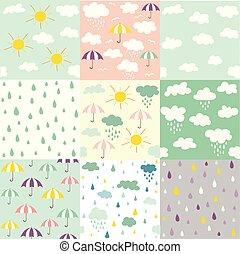 motifs, nuages, seamless, pluie