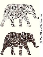 motifs, oriental, éléphant