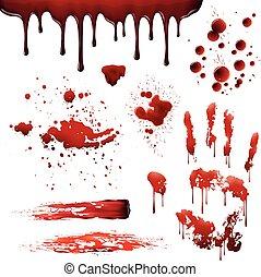 motifs, réaliste, éclaboussures, tache sang, ensemble, ...