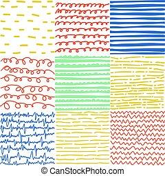 motifs, résumé, ensemble, lignes, seamless