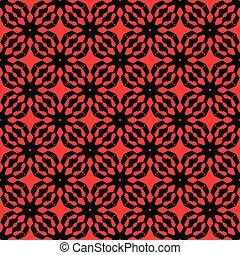 motifs, résumé, pattern., seamless, arrière-plan., noir, vector., rouges