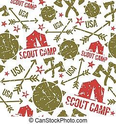 motifs, scout, seamless, camp