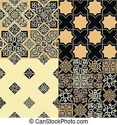motifs, style, ensemble, persan, tuiles