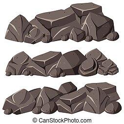 motifs, tas, trois, rochers