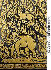 motifs, temple, ratchanatdaram, thaï, wat