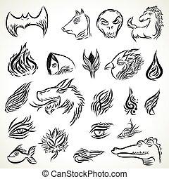 motifs, tribal, ensemble, tatouage