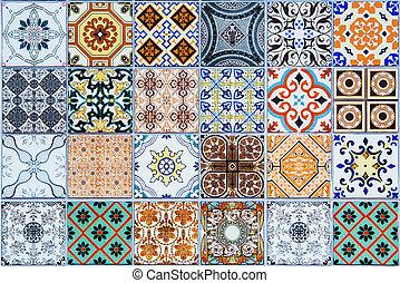 motifs, tuiles, céramique, portugal.
