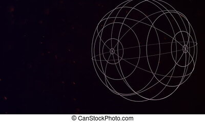 Motion abstract geometric shape with particles in space, galaxy background