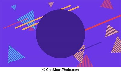 Motion abstract geometric shapes striped triangles, purple Memphis background. Elegant and luxury dynamic style for business and corporate template