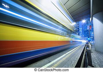 motion., accelerare, autobus, sfocato